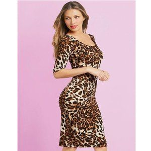 Alloy Apparel Leopard Print Bodycon Midi Dress